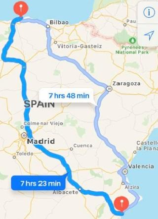Map of moving from Cornwall to Spain